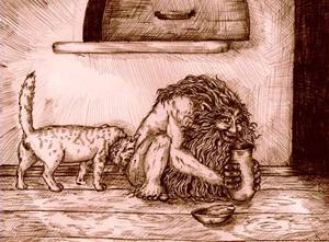 Domowik spożywający posiłek od gospodarzy