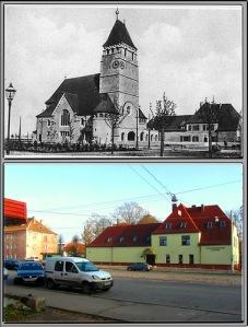 Zdjęcie kościoła w Królewcu i obecny Kaliningrad